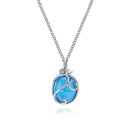 925 Sterling Silver Rock Crystal/Turquoise and Diamond Pendant Necklace