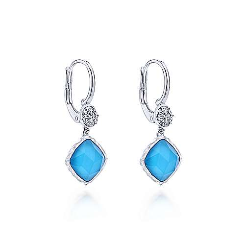 925 Sterling Silver Rock Crystal/Turquoise and White Sapphire Drop Earrings
