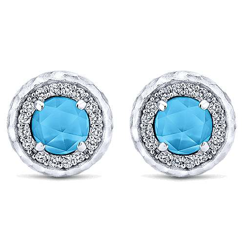 925 Sterling Silver Rock Crystal/Turquoise and White Sapphire Stud Earrings
