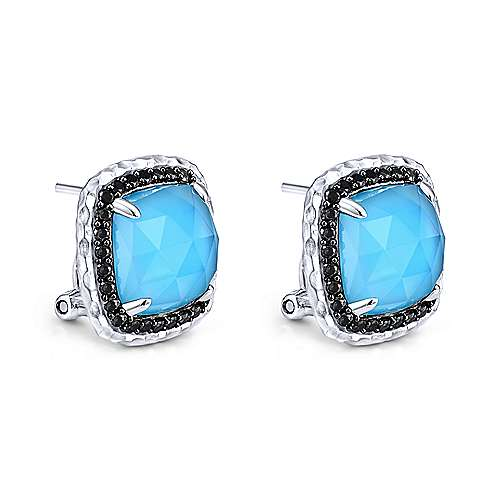 925 Sterling Silver Rock Crystal/Turquoise with Black Spinel Halo Stud Earrings