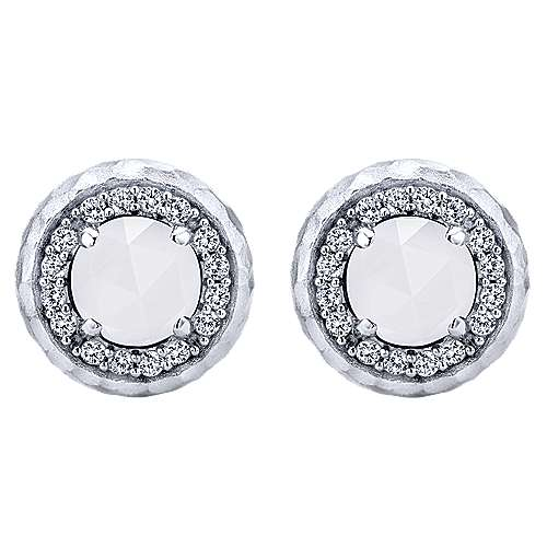 925 Sterling Silver Rock Crystal/White Agate and White Sapphire Stud Earrings