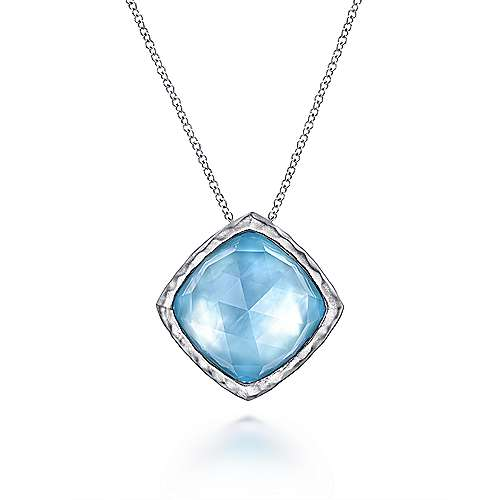 925 Sterling Silver Rock Crystal/White MOP/Turquoise Pendant Necklace