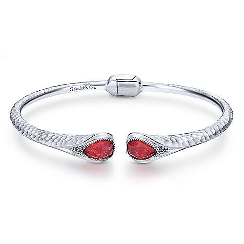 925 Sterling Silver Rock Crystal and Red Jade Split Bangle