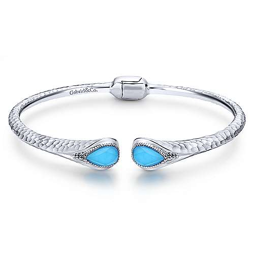 925 Sterling Silver Rock Crystal and Turquoise Split Bangle