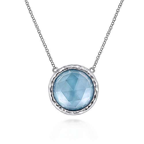 925 Sterling Silver Rock Crystal and White Mother of Pearl and Turquoise Pendant Necklace