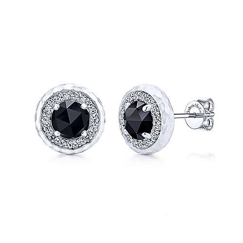 925 Sterling Silver Round  Rock Crystal /Black Onyx and White Sapphire Stud Earrings