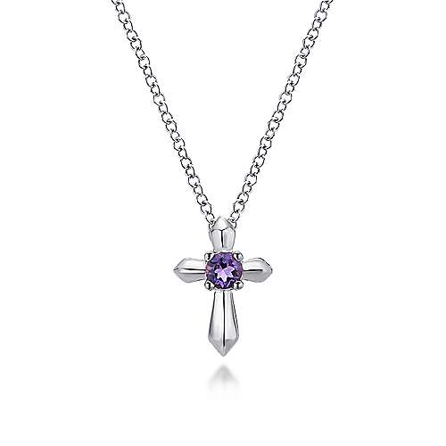 925 Sterling Silver Round Amethyst Cross Necklace