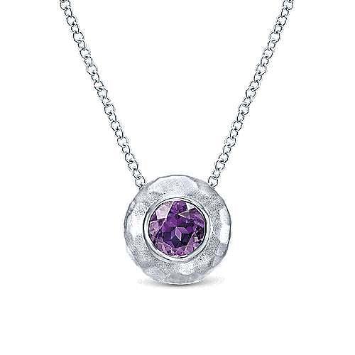 925 Sterling Silver Diamond Amethyst Pendant