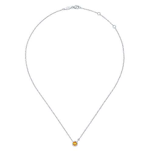925 Sterling Silver Round Bezel Set Citrine and Diamond Pendant Necklace