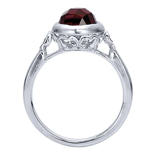 925 Sterling Silver Round Bezel Set Garnet Ring