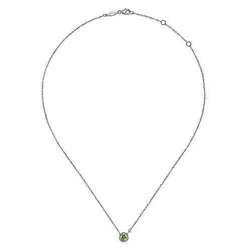 925 Sterling Silver Round Bezel Set Peridot and Diamond Pendant Necklace