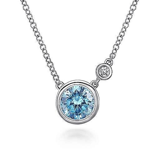 925 Sterling Silver Round Bezel Set Swiss Blue Topaz and Diamond Pendant Necklace