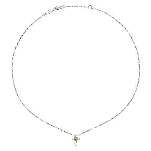 925 Sterling Silver Round Citrine Cross Necklace