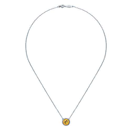 925 Sterling Silver Round Citrine Pendant Necklace