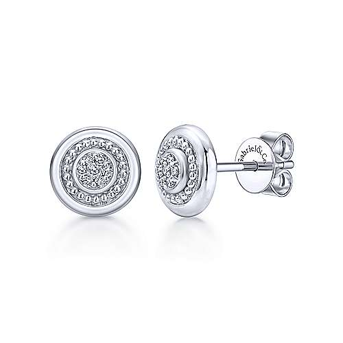 925 Sterling Silver Round Diamond Cluster Stud Earrings