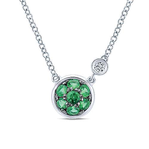 Gabriel - 925 Sterling Silver Round Emerald Cluster Diamond Charm Necklace