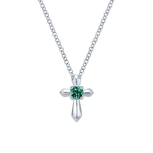 925 Sterling Silver Round Emerald Cross Pendant Necklace