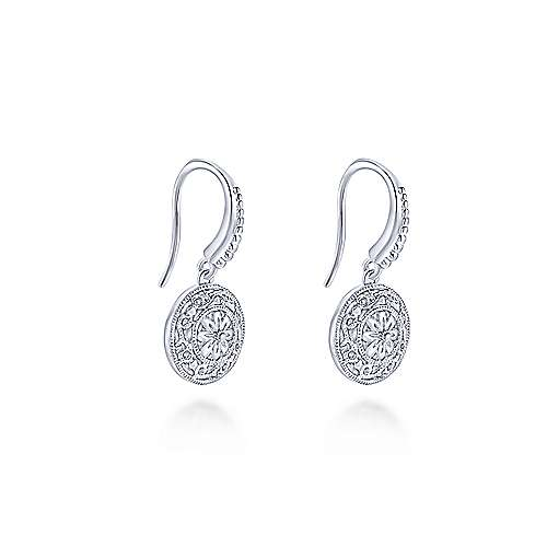925 Sterling Silver Round Filigree Disc Earrings
