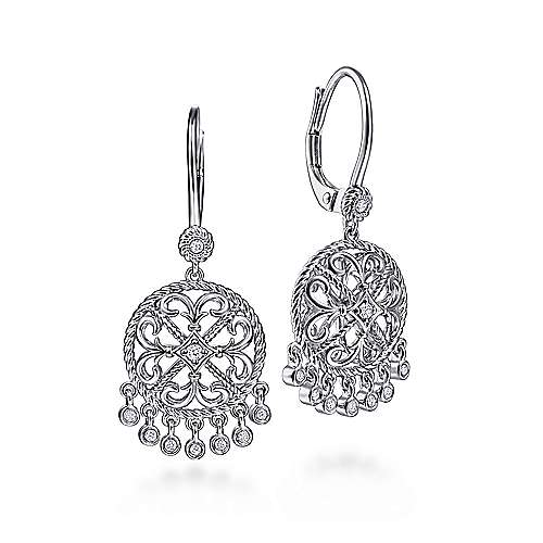 925 Sterling Silver Round Filigree White Sapphire Earrings with Drops
