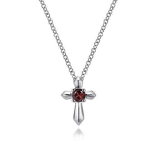 925 Sterling Silver Round Garnet Cross Pendant Necklace