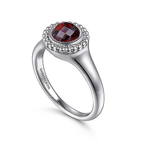 925 Sterling Silver Round Garnet Ring