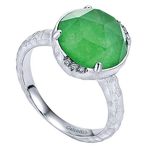 925 Sterling Silver Round Green Jade/Rock Crystal and Diamond Ring