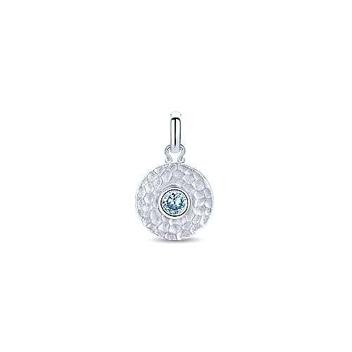 925 Sterling Silver Round Hammered Disc Aquamarine Pendant Necklace