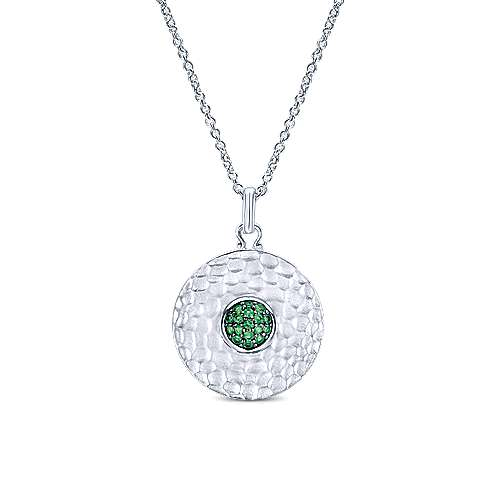 925 Sterling Silver Round Hammered Emerald Pendant Necklace