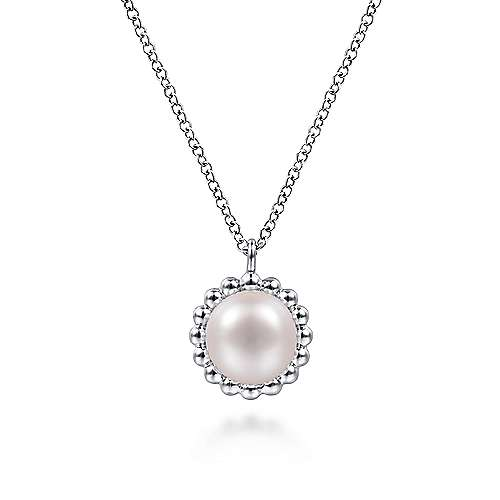 925 Sterling Silver Round Pearl Pendant Necklace with Beaded Frame