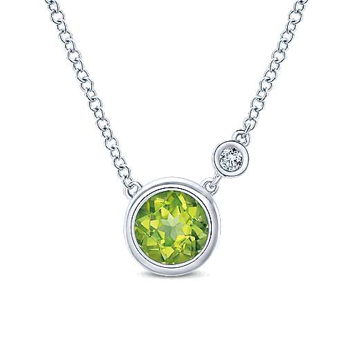 925 Sterling Silver Round Peridot & Diamond Fashion Necklace