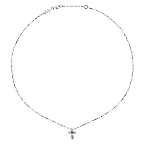 925 Sterling Silver Round Peridot Cross Pendant Necklace