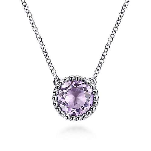 925 Sterling Silver Round Pink Amethyst Pendant Necklace