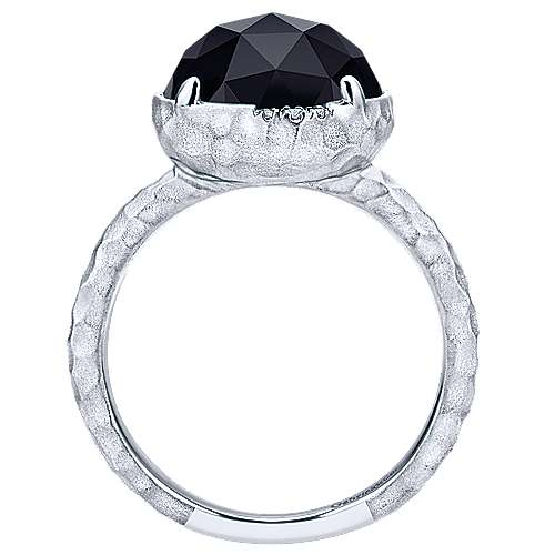 925 Sterling Silver Round Rock Crystal/Black Onyx and Diamond Ring