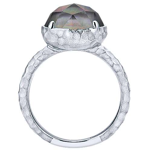 925 Sterling Silver Round Rock Crystal/Black Pearl and Diamond Ring