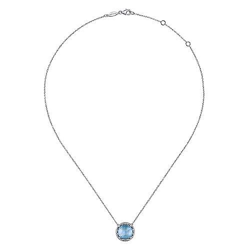 925 Sterling Silver Round Rock Crystal/MOP/Turquoise and White Sapphire Pendant Necklace
