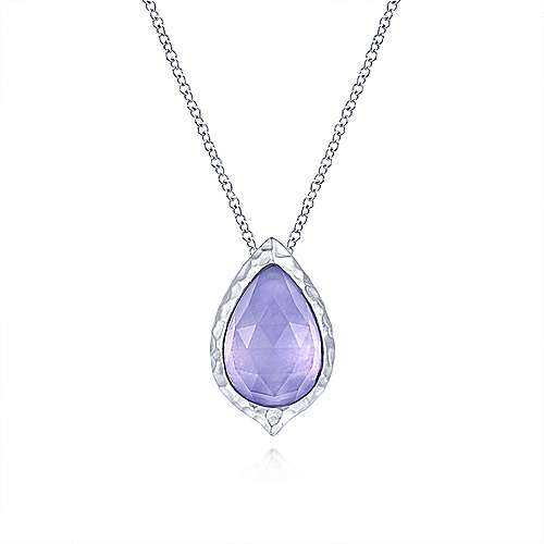 925 Sterling Silver Round Rock Crystal/Purple Jade Doublet Pendant Necklace