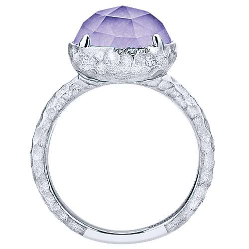 925 Sterling Silver Round Rock Crystal/Purple Jade and Diamond Ring