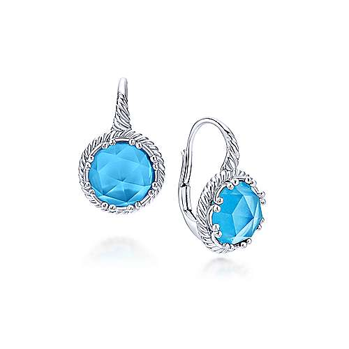 925 Sterling Silver Round Rock Crystal/Turquoise Drop Earrings