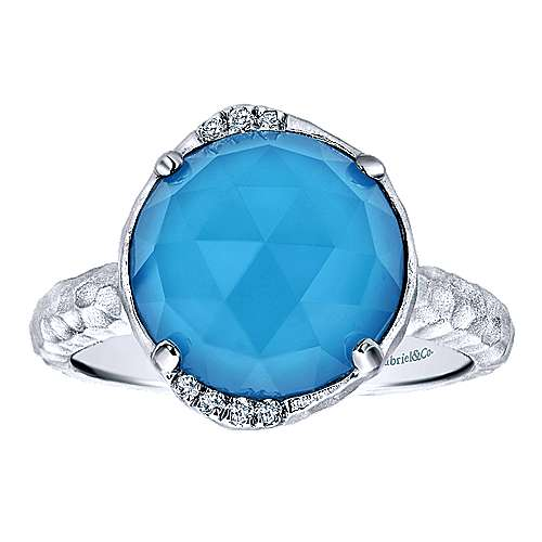 925 Sterling Silver Round Rock Crystal/Turquoise and Diamond Ring