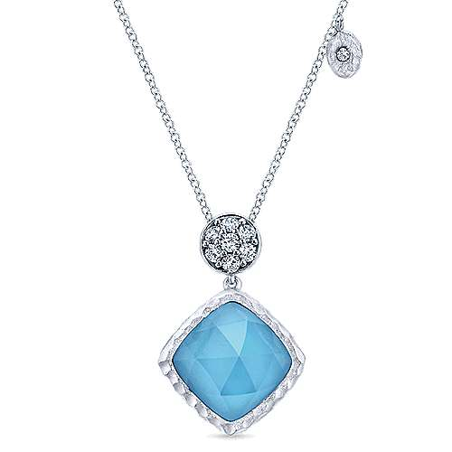 925 Sterling Silver Round Rock Crystal/Turquoise and White Sapphire Pendant Necklace