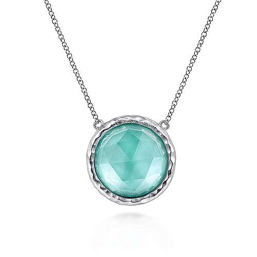 925 Sterling Silver Round Rock Crystal/White MOP and Green Onyx Doublet Pendant Necklace