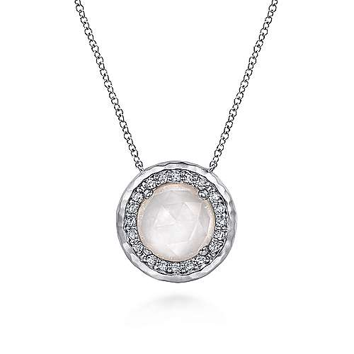 925 Sterling Silver Round Rock Crystal/White MOP and White Sapphire Halo Pendant Necklace