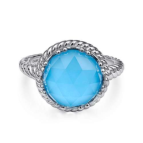 925 Sterling Silver Round Rock Crystal and Turquoise Twisted Rope Ring