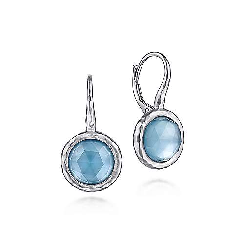 925 Sterling Silver Round Rock Crystal and White Mother of Pearl and Turquoise Leverback Earrings
