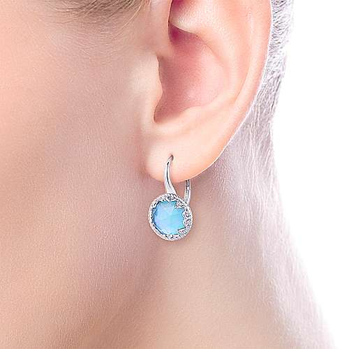 925 Sterling Silver Round Rock Crystal and White Mother of Pearl and Turquoise and White Sapphire Drop Earrings
