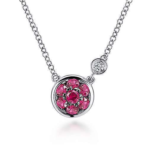 925 Sterling Silver Round Ruby Cluster Pendant Necklace