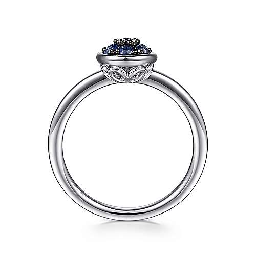 925 Sterling Silver Round Sapphire Cluster Fashion Ladies Ring