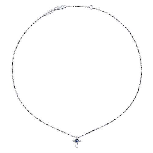925 Sterling Silver Round Sapphire Cross Pendant Necklace