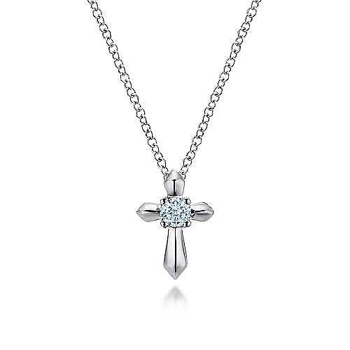 925 Sterling Silver Round Sky Blue Topaz Cross Necklace