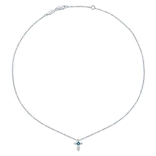 925 Sterling Silver Round Sky Blue Topaz Cross Necklace